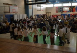 Students perform at the culminating event for the Civil War theme.