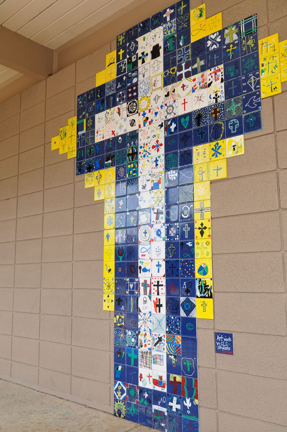 Christ Lutheran School Photo - Students added decoration to the courtyard by designing a tile square that shares their faith.