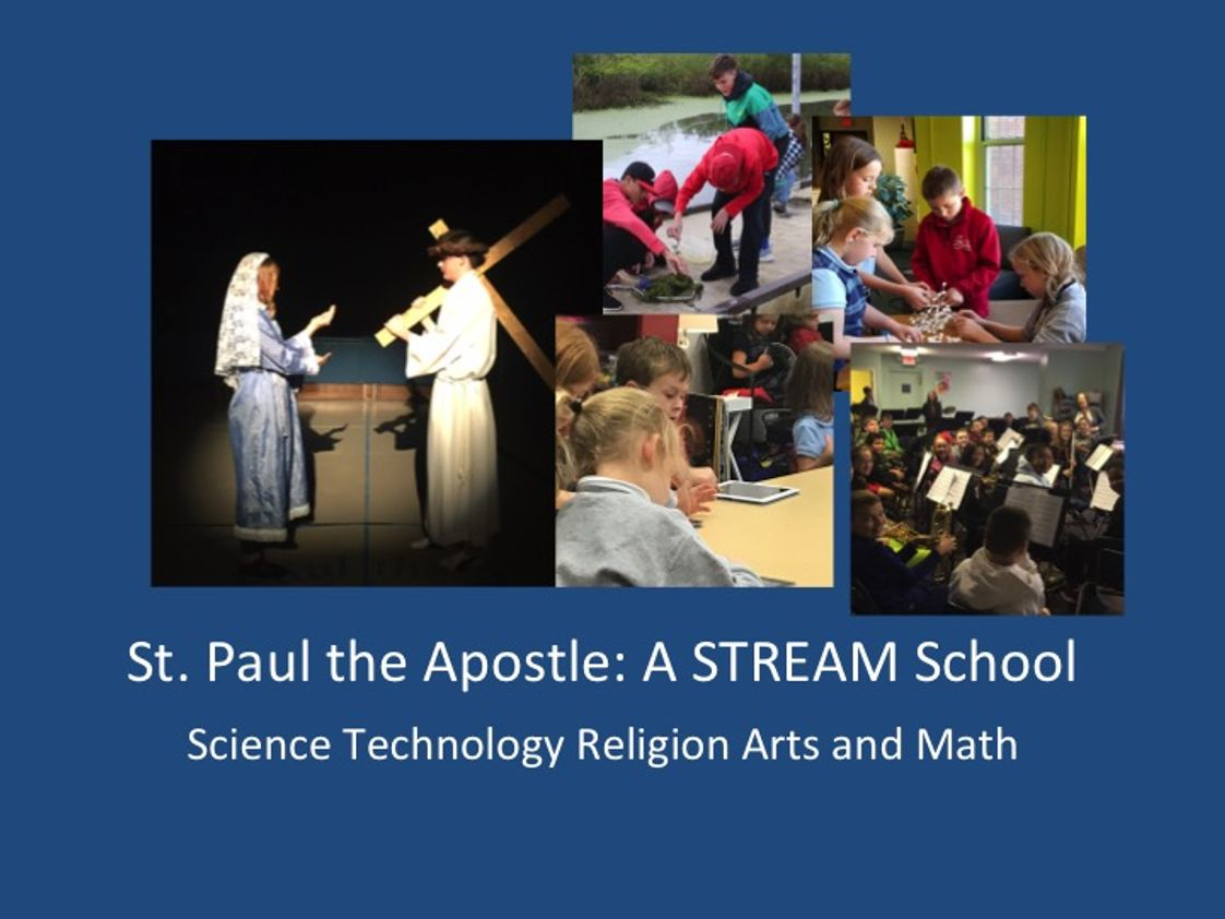 St Paul The Apostle Catholic School Photo #1 - STREAM is an expansion of STEM. It is an acronym for Science, Technology, Religion, Engineering, the Arts and Math. As Catholic schools, our mission is to educate the whole child; therefore, STREAM education has taken the principles of STEM infused religion across all subjects and added the arts to provide students the creative thinking skills necessary to communicate.