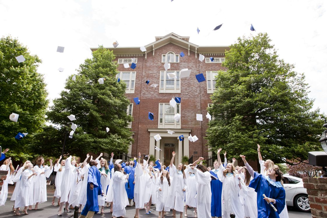 Sayre School Photo - Graduation outside the steps of Old Sayre