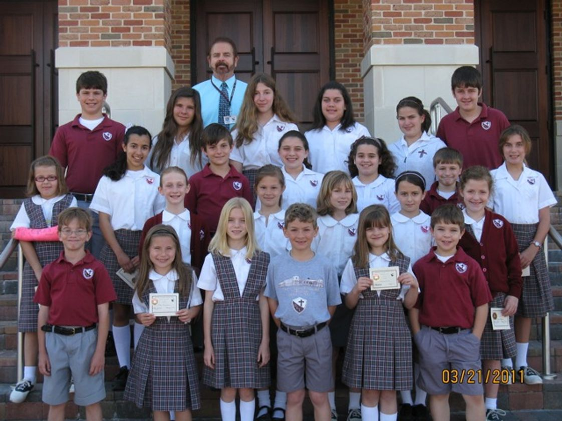 Our Lady Of Lourdes Elementary School Photo #1 - 3rd Quarter Principal's Honor Roll recipients with Mr. Kiefer, following the Honor Roll Breakfast. March 2011