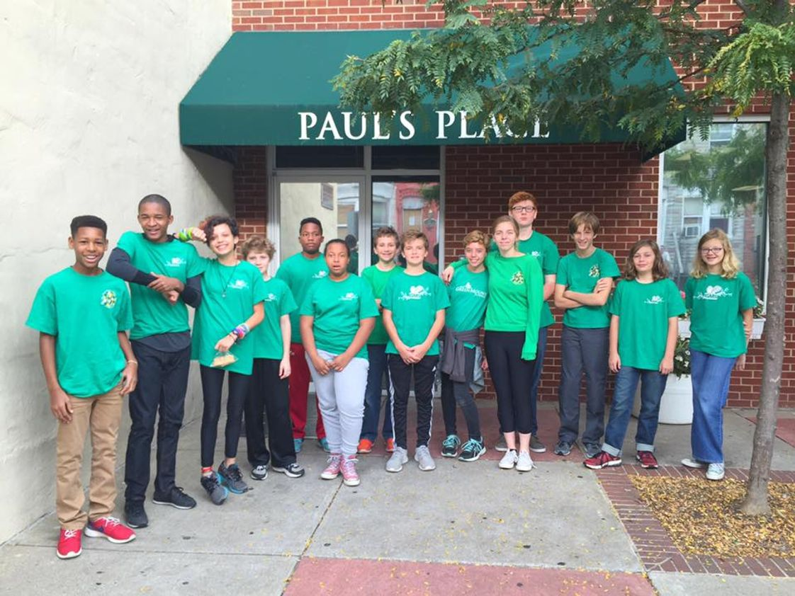The GreenMount School Photo #1 - Our 8th grade students outside of Paul's Place. These students volunteer four times every year as part of our service learning program.