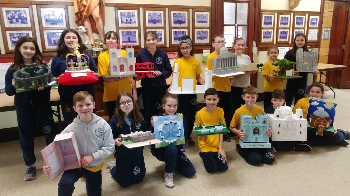 St. John The Baptist School Photo #1 - Our 5th Grade students proudly displaying the landmarks of England that they created in Social Studies class!