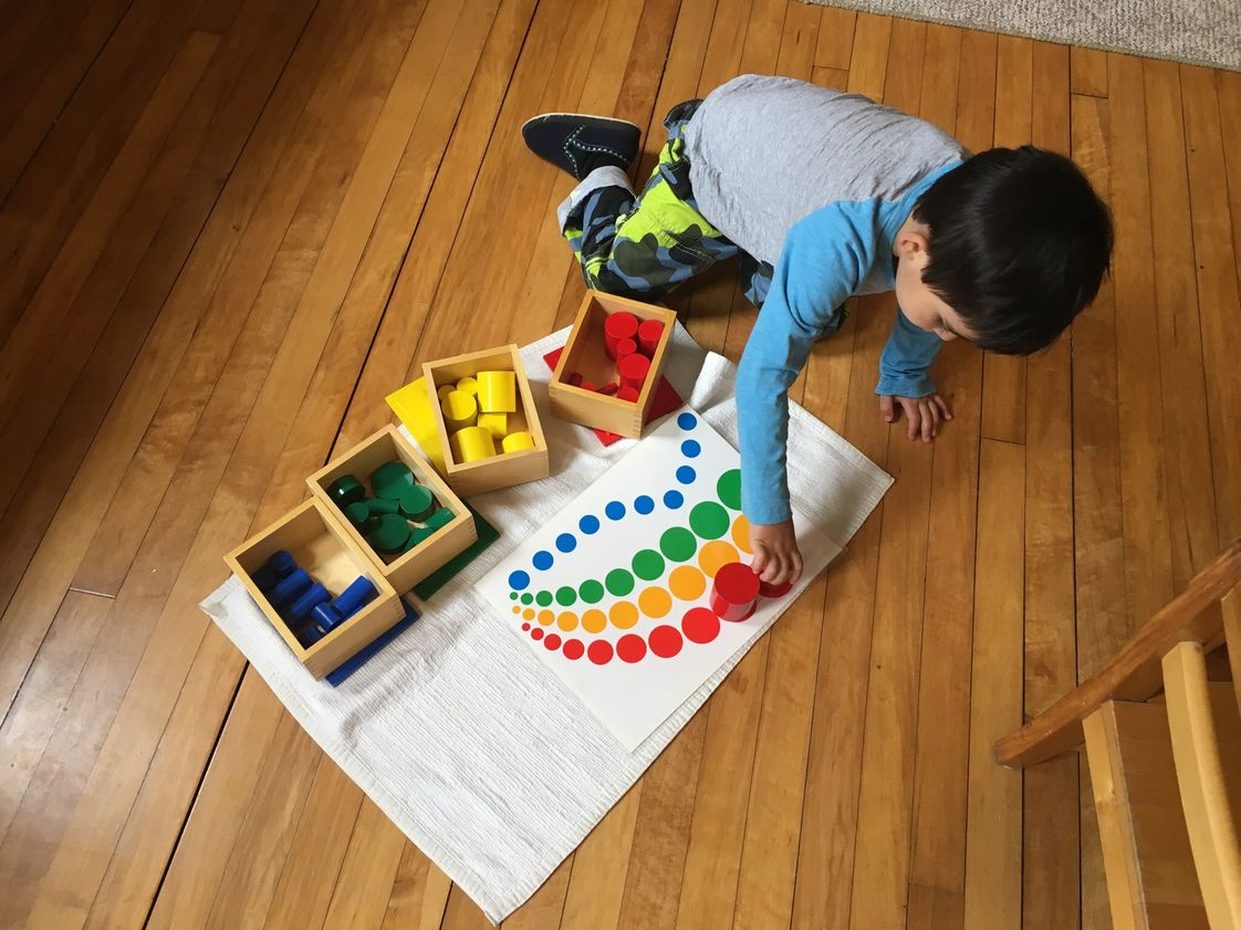 Woodside Montessori Academy Photo - Sensorial Montessori materials allow children opportunities for developing the senses, concentration, executive function skills and problem solving.