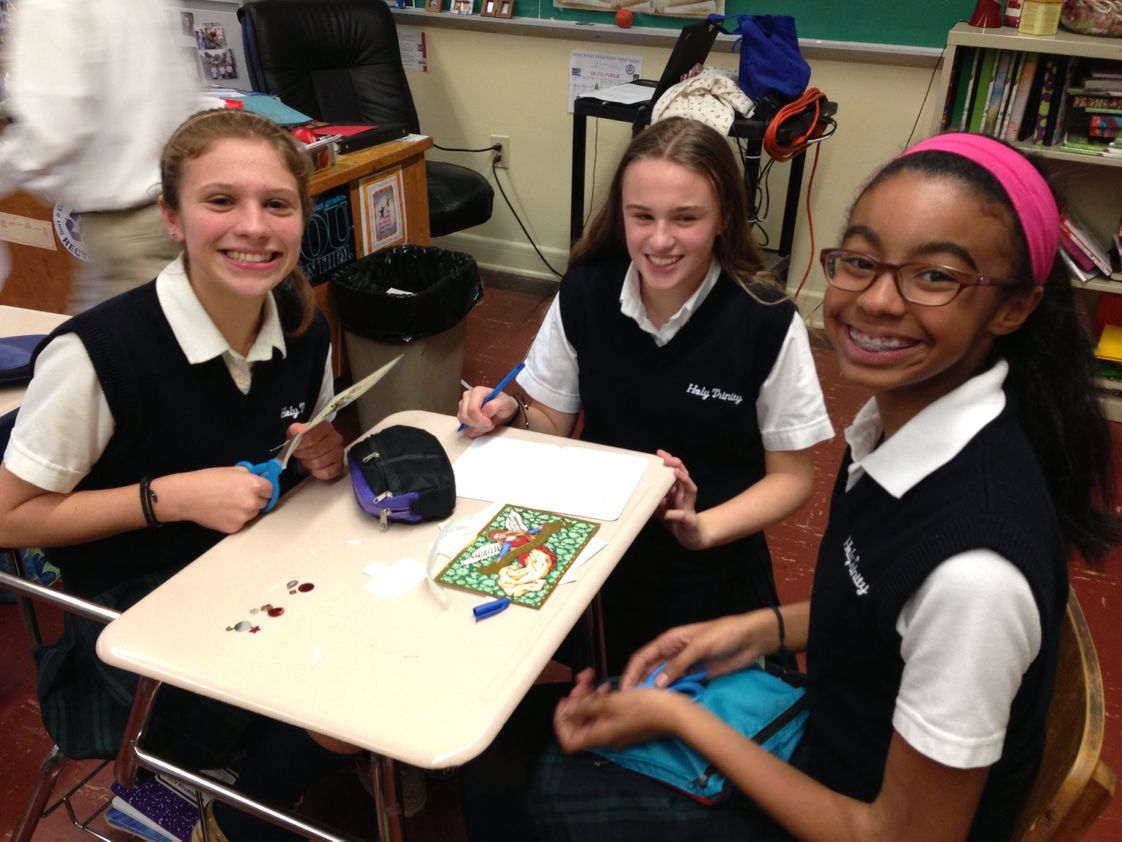 Holy Trinity Photo - 8th Graders Make Cards for Homebound Parishioners