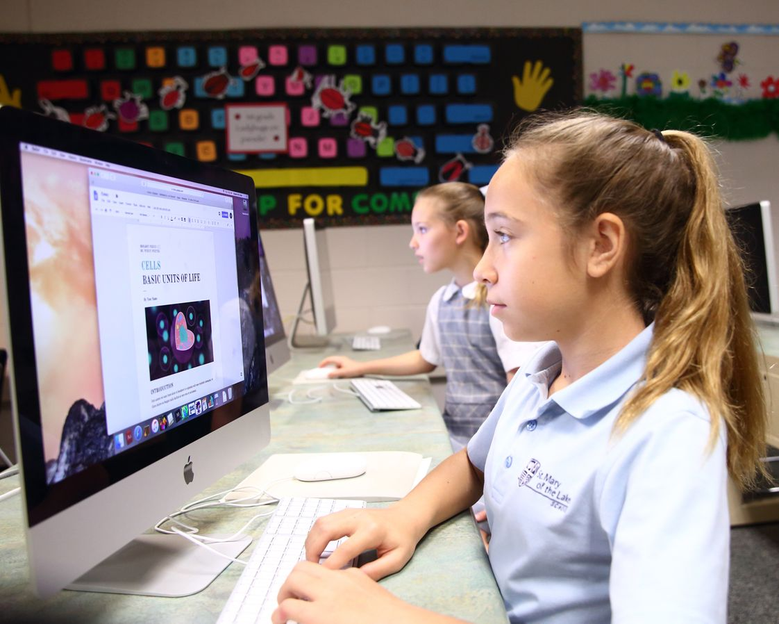St Mary Of The Lakes School Photo - Technology classes are taught at all grade levels beginning in PreK. By 8th grade students are working on spreadsheets, coding and producing/editing video segments for our own SML-TV.