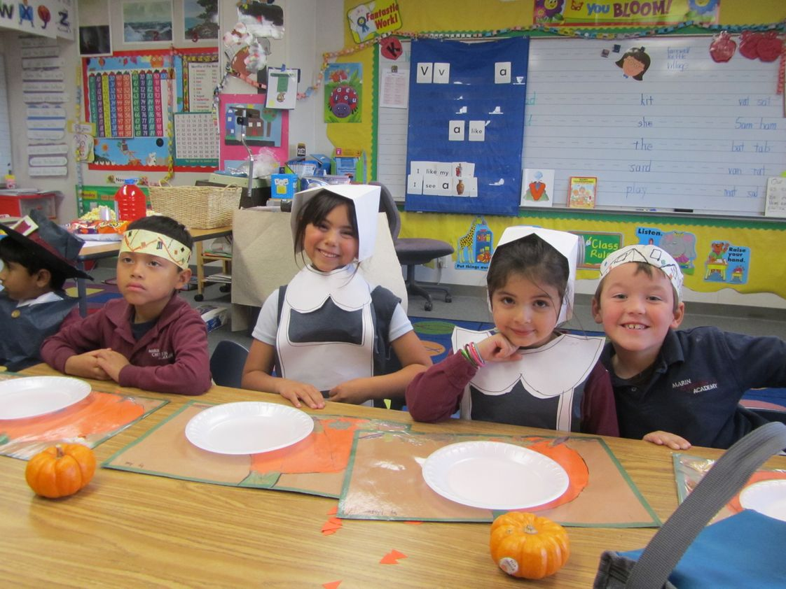 Marin Christian Academy Photo - Kindergarten celebrating Thanksgiving