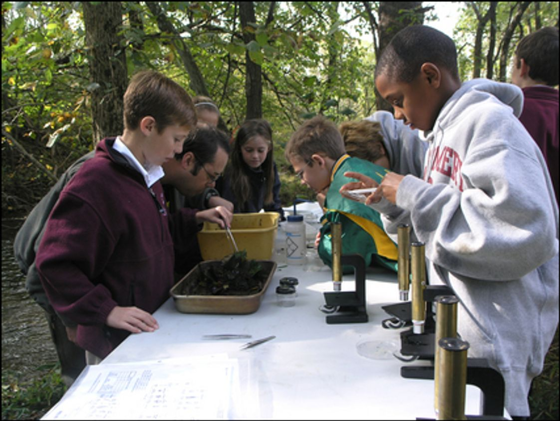 Montgomery School Photo - 5th Graders work with a team of scientists from the Ruth Patrick Center for Environmental Research (a program at the Academy of Natural Sciences) to conduct an in-depth study of Pickering Creek, which runs through Montgomery School's 60-acre campus.