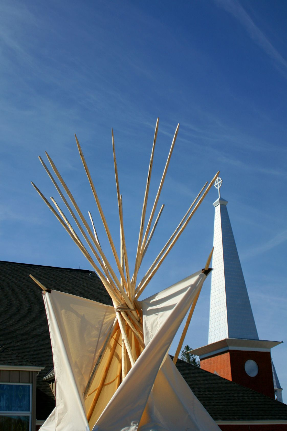 Red Cloud High School Photo - Tipi set up in front of Holy Rosary Church, Red Cloud Indian School, Pine Ridge, South Dakota (Pine Ridge Indian Reservation)