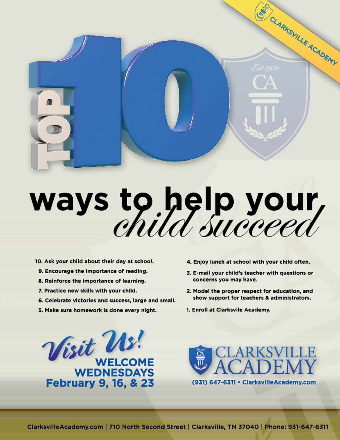 Clarksville Academy Photo - Here are the Top 10 ways to stregthen your child's education.