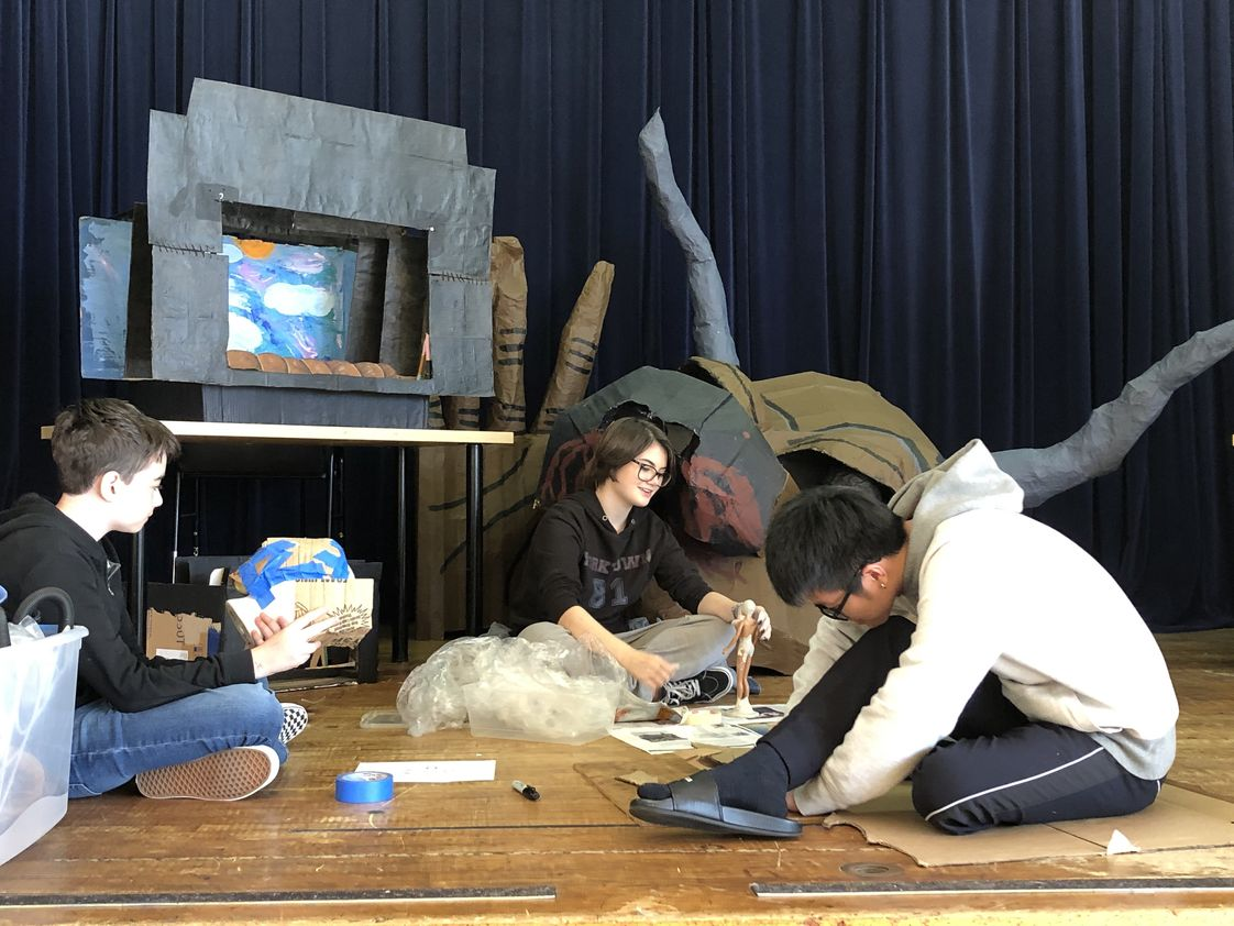 Waldorf High School Of Massachusetts Bay Photo #1 - Students working on their projects for the theater arts workshop. At Waldorf High School, there are many opportunities to be involved in theater and drama productions.