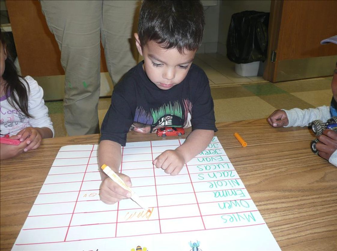 South Arlington Heights KinderCare Photo - Our Preschoolers learn science and math concepts through hands-on exploration. They often practice charting their results.