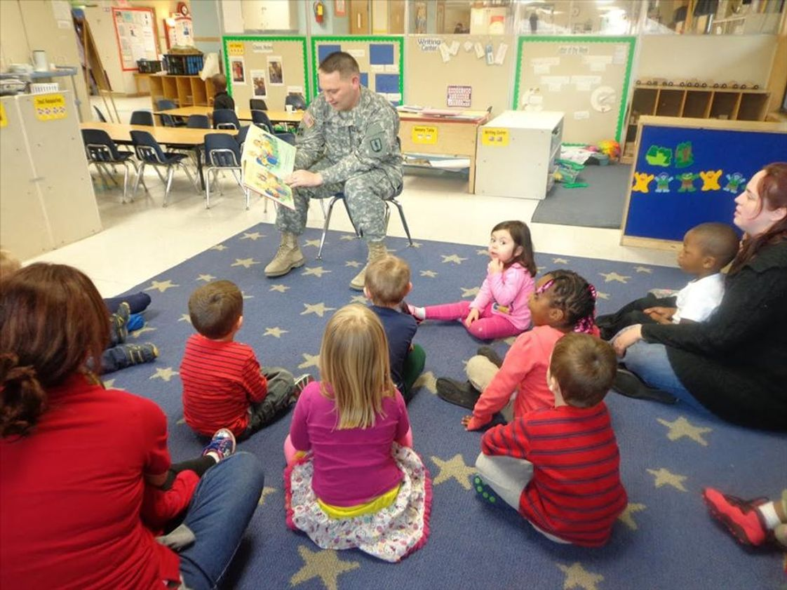 Old Sauk Road KinderCare Photo #1 - Our guest of honor on military appreciation day reading the Preschool class a story