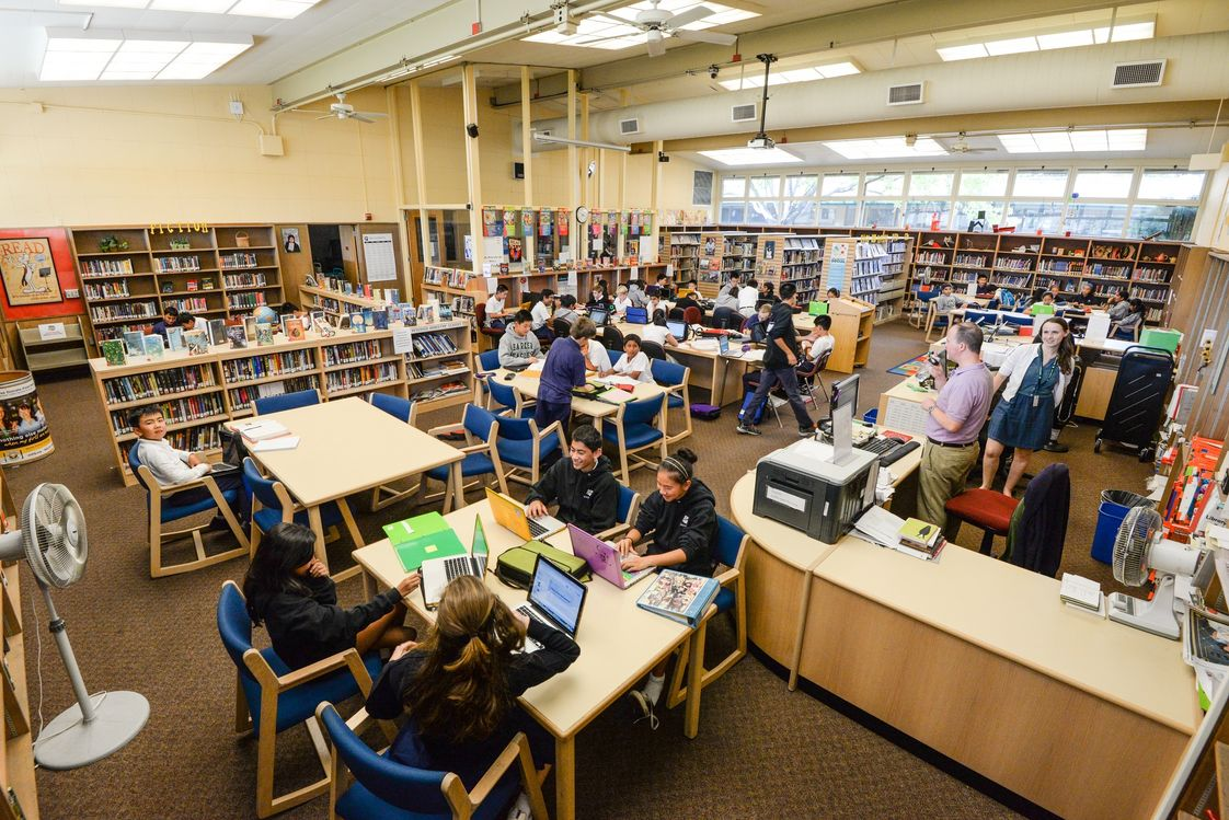 The Harker School Upper School Photo - The Harker School's middle school library is home base for students. Our libraries feature full-time librarians and hundreds of resources, including online reference databases.