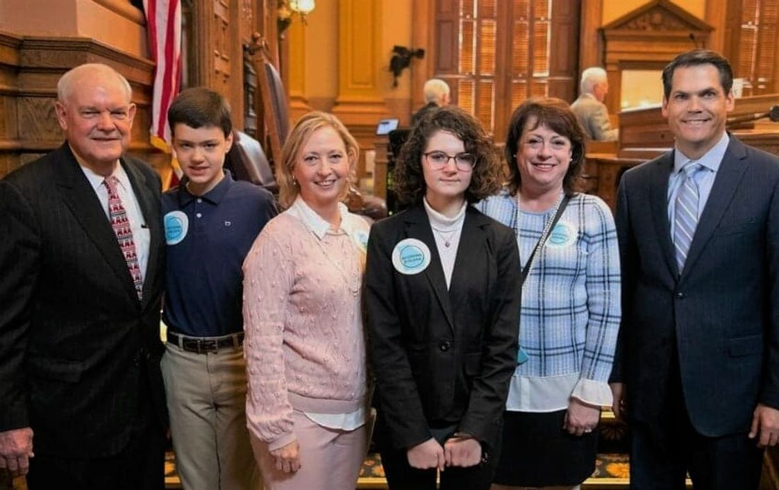 Brookwood Christian Language School Photo - Dyslexia Day at the Capitol with Senator Lindsey Tippins, student Will, Ms. Kim, student Krissy, Ms Tammy, and Lt. Governor Geoff Duncan.