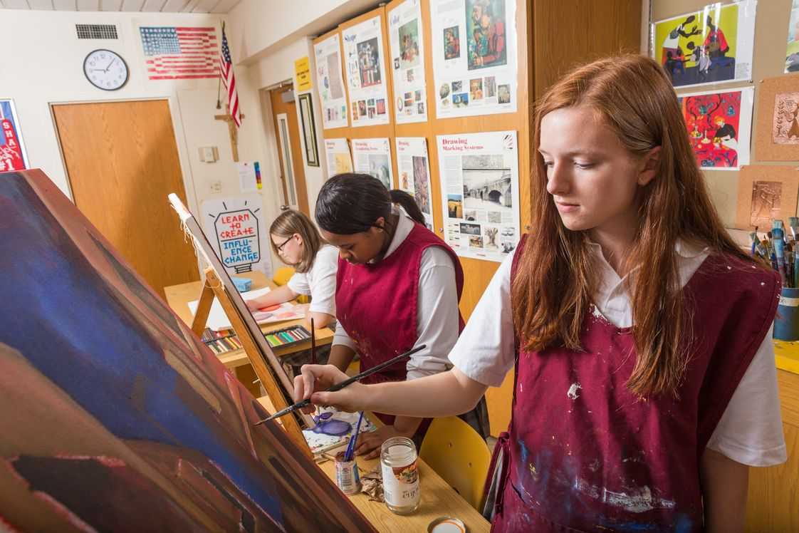 Sacred Heart Academy Photo #1 - Students learn to work with many painting media such as acrylic, oil, and watercolor in this course that covers painting, design and visual concepts.
