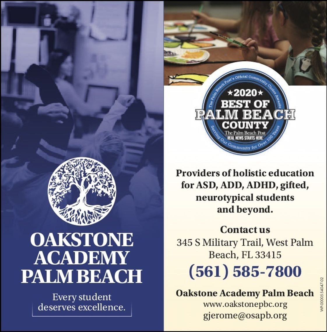 Oakstone Academy Palm Beach Photo - Oakstone was nominated as one of the top 3 private schools in Palm Beach County!