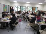 The 7th/8th grade students study and work hard in their classroom.