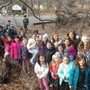 Love Of Learning Montessori Photo - Elementary children in the woods for recess